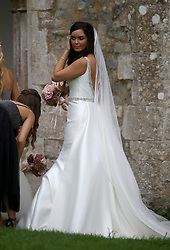 England all-rounder Ben Stokes' fiancee Clare Ratcliffe arrives at St Mary the Virgin, East Brent, Somerset, before the wedding.
