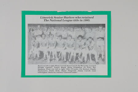 Limerick Senior Hurles who retained The National League title in 1985, back from left, Mossy Carroll, Brian Carroll, Pat McCarthy, Leonard Enright (captain), Tommy Quaid, Shane Fitzgibbon, Pa Foley, Ray Sampson, front row from left, Olli O'Connor, Pat Herbert, Paudie Fitzmaurice, Paddy Kelly, Danny Fitzgerald, Jimmy Carroll, Liam O'Donoghue,