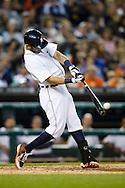 May 23, 2014; Detroit, MI, USA; Detroit Tigers second baseman Ian Kinsler (3) at bat against the Texas Rangers at Comerica Park. Mandatory Credit: Rick Osentoski-USA TODAY Sports