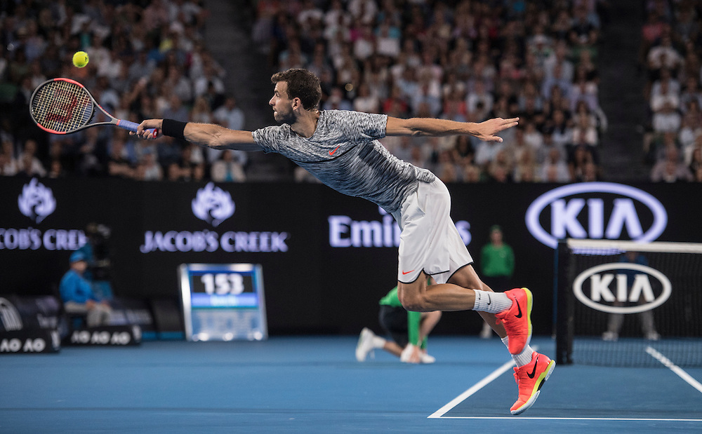 Grigor Dimitrov of Bulgaria on day twelve of the 2017 Australian Open at Melbourne Park on January 27, 2017 in Melbourne, Australia.<br /> (Ben Solomon/Tennis Australia)