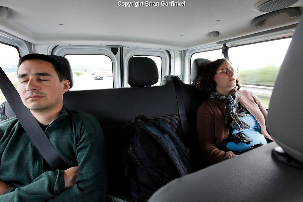 Jesus and Kate nap in the car on the way to Zilina, Slovakia on Friday July 1st 2011. (Photo by Brian Garfinkel)