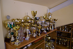 MARIBOR, SLOVENIA - Monday, October 16, 2017: Trophies in a room at the Stadion Ljudski vrt ahead of the UEFA Champions League Group E match between NK Maribor and Liverpool. (Pic by David Rawcliffe/Propaganda)