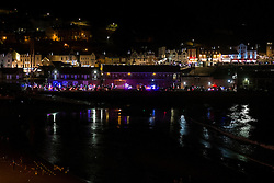 Goldwings prepare for the Scarborough Goldwing Light Parade 2015 from the terrace of the Grand Hotel<br />