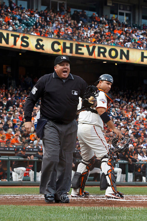 SAN FRANCISCO, CA - MAY 05: MLB umpire Fieldin Culbreth #25 warns the Los Angeles Dodgers dugout after an argued called strike during the second inning against the San Francisco Giants at AT&T Park on May 5, 2013 in San Francisco, California. The San Francisco Giants defeated the Los Angeles Dodgers 4-3. (Photo by Jason O. Watson/Getty Images) *** Local Caption *** Fieldin Culbreth