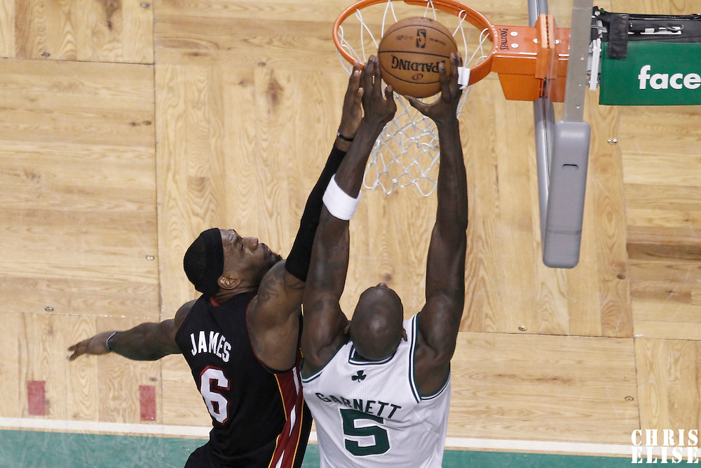 01 June 2012: Boston Celtics power forward Kevin Garnett (5) goes for the dunk over Miami Heat small forward LeBron James (6) during the Boston Celtics 101-91 victory over the Miami Heat, in Game 3 of the Eastern Conference Finals playoff series, at the TD Banknorth Garden, Boston, Massachusetts, USA.