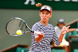 PARIS, June 3, 2017  Elise Mertens of Belgium returns the ball to Venus Williams of the U.S. during the women's singles 3rd round match at the French Open Tennis Tournament 2017 in Paris, France on June 2, 2017. Venus Williams won 2-0. (Credit Image: © Chen Yichen/Xinhua via ZUMA Wire)