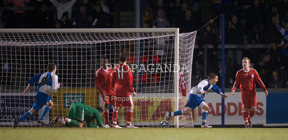 BRISTOL, ENGLAND - Thursday, January 15, 2009: Bristol Rovers' Eliot Richards celebrates scoring the equaliser against Liverpool during the FA Youth Cup match at the Memorial Stadium. (Mandatory credit: David Rawcliffe/Propaganda)