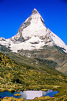 Matterhorn (Riffelsee in front) near Zermatt, Switzerland