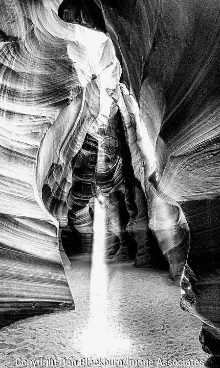 Slot Canyon Black and White Image of Light Beam in Upper Antelope Canyon, Arizona