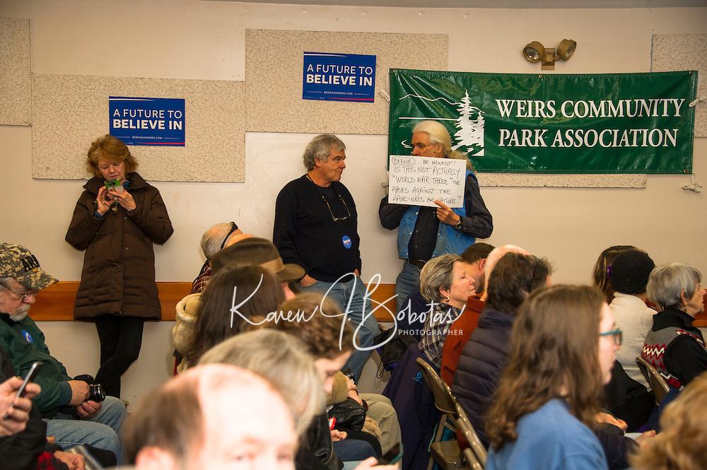 Vermont Senator Bernie Sanders speaking engagement at the Weirs Beach Community Center.  Karen Bobotas for the Laconia Daily Sun