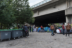 """Anne Hidalgo, the mayor of Paris, visited the so-called Millennium migrant camp located in the 19th arrondissement of Paris, for her 9th weekly visit, as the controversy begins to mount over the upcoming evacuation of refugees. At the same time, activists deployed a banner saying """"No to deportations"""". Paris, France, May 25, 2018. Photo by Samuel Boivin / ABACAPRESS.COM"""