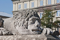 Lion Statue on the steps of the Town Hall Clock Tower in Krakow Poland