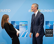 Summit of the North Atlantic Treaty Organization also known as NATO . Meeting of NATO Heads of State and Government . Official Handshake .<br /> Pix : Iceland's Prime Minister Katrin Jakobsdottir, Jens Stoltenberg<br /> Credit : Sebastien Pirlet / Isopix