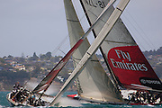 Emirates Team New Zealand sail ex Illbruck AC boat GER68 against NZL81 as part of their test program..(68 is left boat).Hauraki Gulf, Auckland. 17/12/2004