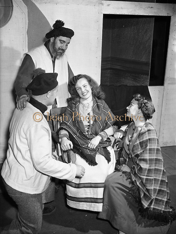 """30/4/1955<br /> 4/30/1955<br /> 30 April 1955<br /> Abbey Theatre scenes from """"An Posadh"""" (The Marriage) by Douglas Hyde, at Queens theatre, Pearse Street, Dublin. Gaelic Play for Paris."""