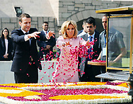 10.03.2018; Delhi, India: PRESIDENT EMMANUEL MACRON AND WIFE BRIGITTE<br /> pay floral tributes at the Samadhi of Mahatma Gandhi, at Rajghat, in Delhi.<br /> The French President who is on a 3 day visit to India, will be attending the Founding Conference of the International Solar Alliance.<br /> Mandatory Credit Photo: &copy;NEWSPIX INTERNATIONAL<br /> <br /> IMMEDIATE CONFIRMATION OF USAGE REQUIRED:<br /> Newspix International, 31 Chinnery Hill, Bishop's Stortford, ENGLAND CM23 3PS<br /> Tel:+441279 324672  ; Fax: +441279656877<br /> Mobile:  07775681153<br /> e-mail: info@newspixinternational.co.uk<br /> **All Fees Payable To Newspix International**