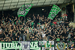 Green Dragons, fans  of Olimpija cheers during football match between NK Maribor and NK Olimpija Ljubljana in 34th Round of Prva liga Telekom Slovenije 2017/18, on May 19, 2018, in Stadion Ljudski vrt, Maribor, Slovenia. Photo by Vid Ponikvar / Sportida