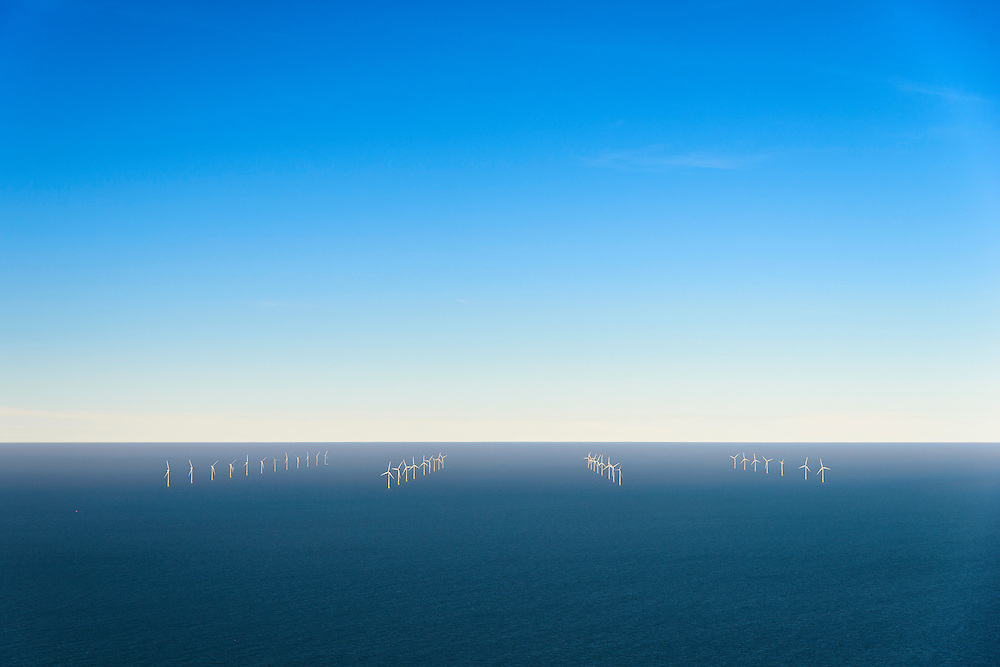 Nederland, Noord-Holland, IJmuiden, 11-12-2013; offshore Prinses Amaliawindpark telt 60 windturbines en is gebouwd door Eneco en Econcern. Het windmolenpark ligt 23 km uit de kust bij IJmuiden (blok Q7 van het Nederlands continentaal plat).<br /> The Princess Amalia offshore Wind Farm consists of 60 wind turbines and is located in block Q7 of the Dutch Continental Shelf, 23 km from the shore.<br /> luchtfoto (toeslag op standaard tarieven);<br /> aerial photo (additional fee required);<br /> copyright foto/photo Siebe Swart.