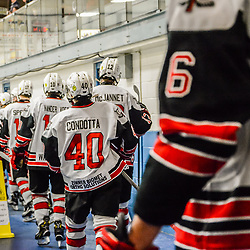 GEORGETOWN, ON - FEBRUARY 2: The Georgetown Raiders entering the ice on February 2, 2019 at Gordon Alcott Memorial Arena in Georgetown, Ontario, Canada.<br /> (Photo by Michelle Malvaso / OJHL Images)