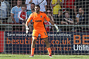 AFC Wimbledon goalkeeper Tom King (1) during the EFL Sky Bet League 1 match between Fleetwood Town and AFC Wimbledon at the Highbury Stadium, Fleetwood, England on 4 August 2018. Picture by Craig Galloway.