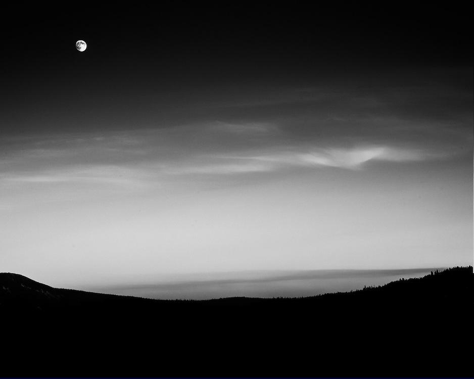 Moonrise over White River Valley Mt Hood, Oregon
