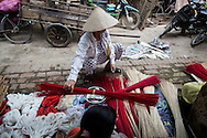 "Preparation of materials for conical hat making process, Chuong Village, Ha Tay Province, Vietnam, Southeast Asia, 2013. This handicraft village specializes in the fabrication of the conical hat, known as ""non"" in Vietnamese."