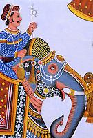 Inde. Rajasthan. Ville de Udaïpur. Peinture réalisée pour un mariage // India. Rajasthan. Udaïpur. Wedding painting.