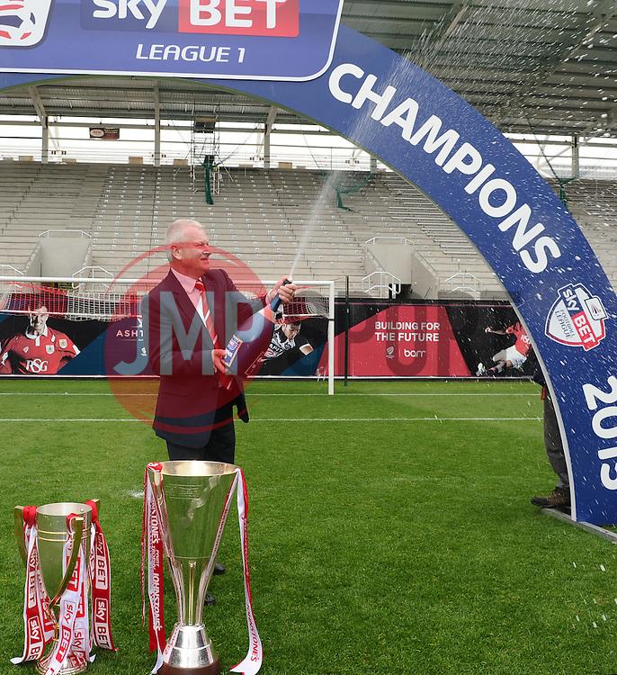Bristol City's majority shareholder, Steve Lansdown sprays champagne  - Photo mandatory by-line: Joe Meredith/JMP - Mobile: 07966 386802 - 03/05/2015 - SPORT - Football - Bristol - Ashton Gate - Bristol City v Walsall - Sky Bet League One