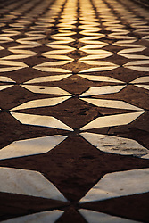Marble mosaic tile flooring of the Taj Mahal, Agra, India,