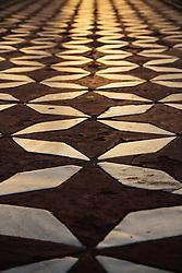 Marble mosaic tile flooring of the Taj Mahal, Agra, India,