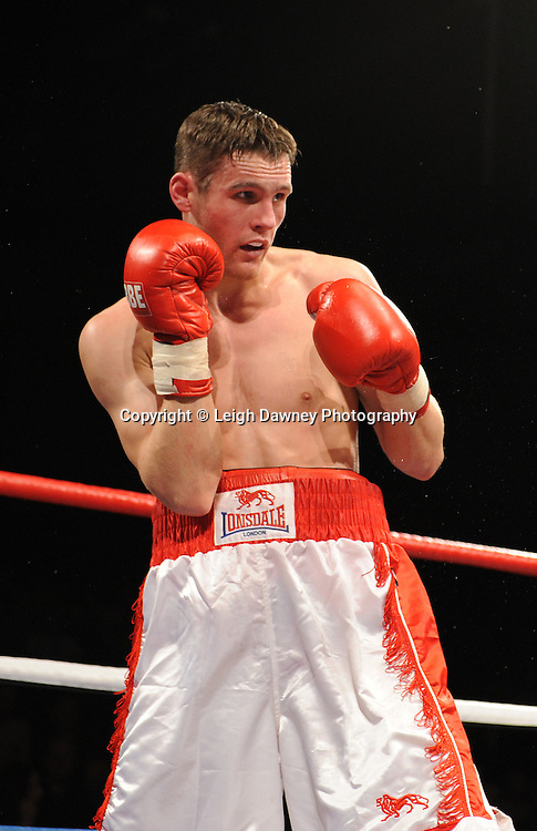 Jonson McClumpha (white shorts) v Kevin McCauley at Brentwood Centre, Brentwood, Essex on the 5th February 2011. Frank Maloney Promotions. Photo credit © Leigh Dawney