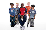 Multiracial group of boys in the studio,