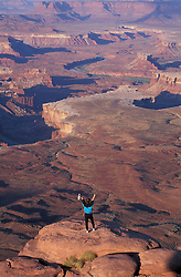 "Canyonlands National Park, UT..Hiking. ""Island in the Sky"" District.  Green River Overlook. Sandstone."