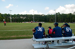 September 22, 2018 - Morrisville, North Carolina, US - Sept. 22, 2018 - Morrisville N.C., USA - Team USA players watch the action during the ICC World T20 America's ''A'' Qualifier cricket match between USA and Canada. Both teams played to a 140/8 tie with Canada winning the Super Over for the overall win. In addition to USA and Canada, the ICC World T20 America's ''A'' Qualifier also features Belize and Panama in the six-day tournament that ends Sept. 26. (Credit Image: © Timothy L. Hale/ZUMA Wire)