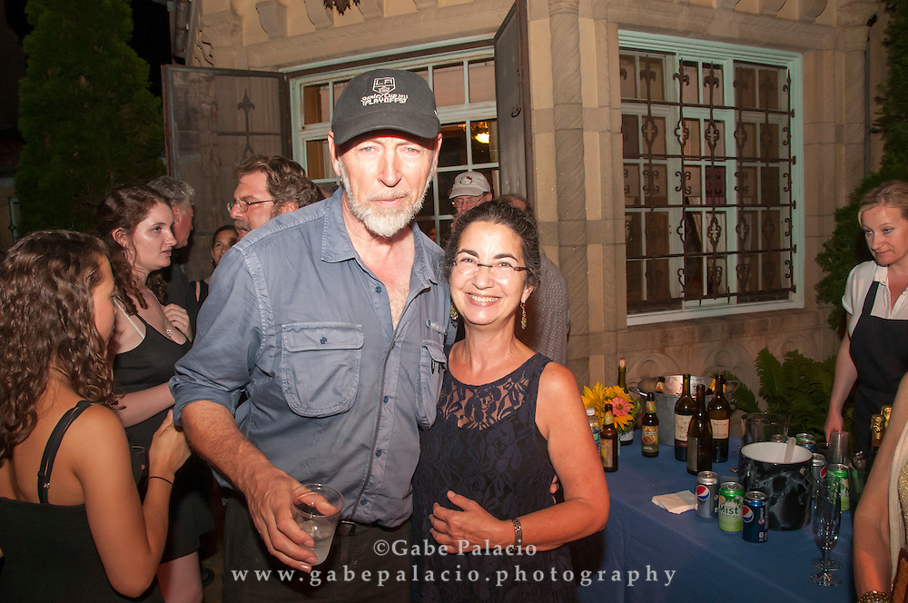 Post concert reception with Richard Thompson on the East Porch of the Rosen House at Caramoor on July 14, 2012..photo by Gabe Palacio