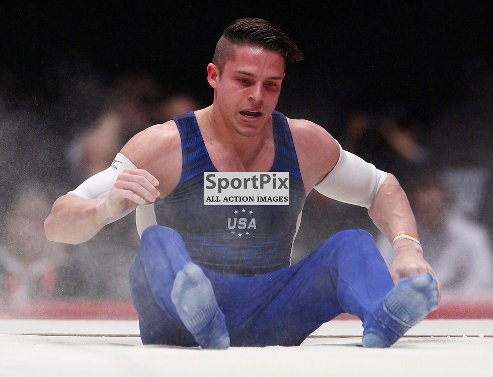 2015 Artistic Gymnastics World Championships being held in Glasgow from 23rd October to 1st November 2015....Christopher Brooks (USA) competing in the Parallel Bars competition..(c) STEPHEN LAWSON | SportPix.org.uk
