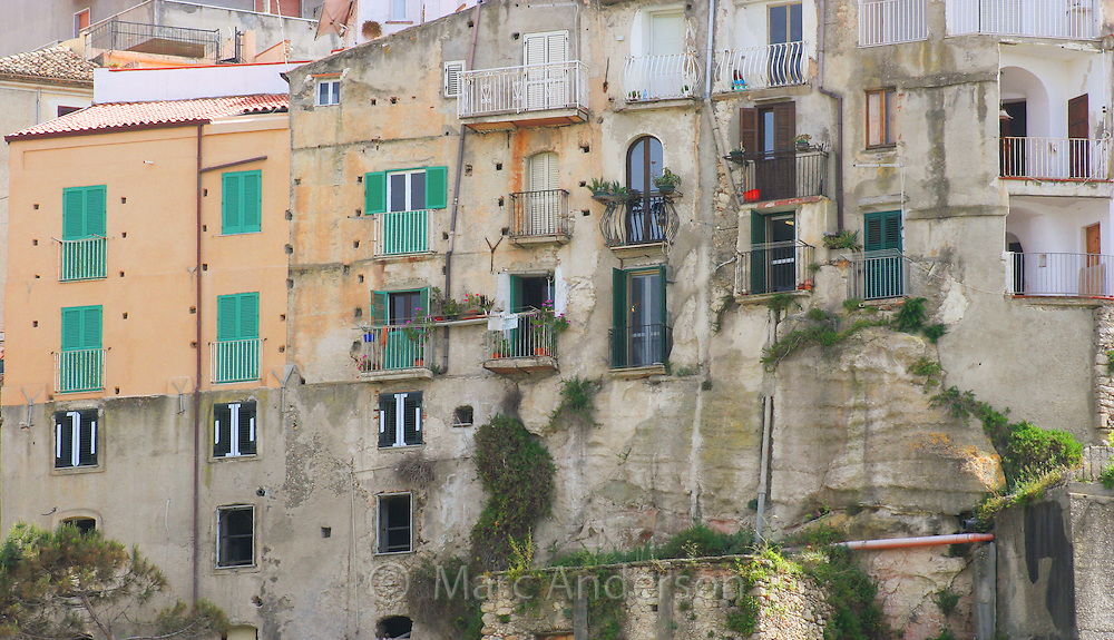 Old Italian buildings on the side of a cliff, Tropea, Italy