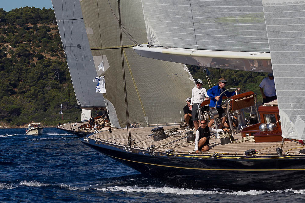 FRANCE, St Tropez. 30th September 2013. Voiles de St Tropez. Hanuman (K6) helmed by Ken Read ahead of Lionheart (H1).