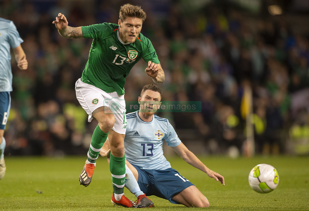 November 15, 2018 - Dublin, Ireland - Jeff Hendrick of Ireland duels with Corry Evans of N.Ireland during the International Friendly match between Republic of Ireland and Northern Ireland at Aviva Stadium in Dublin, Ireland on November 15, 2018  (Credit Image: © Andrew Surma/NurPhoto via ZUMA Press)
