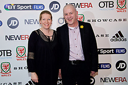 NANTGARW, WALES - Wednesday, March 1, 2017: Wales' performance analyst Esther Laugharne and Kevin Moon attend the premier of Don't Take Me Home - the incredible true story of Wales' Euro 2016 at Showcase Cinema Nantgarw on St. David's Day. (Pic by David Rawcliffe/Propaganda)