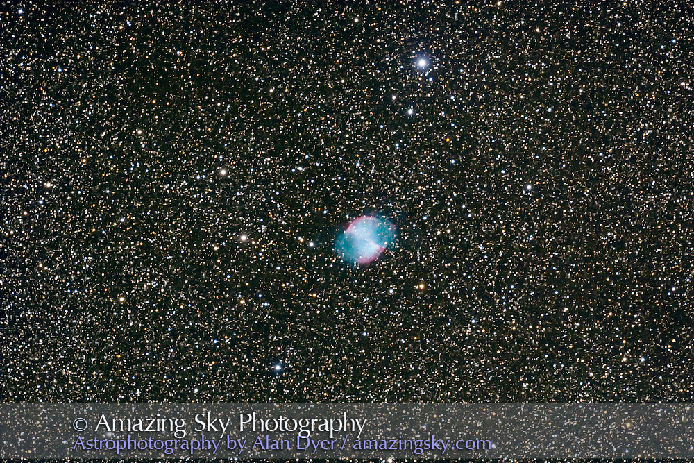 M27, taken Oct 8, 2007 with 5-inch Astro-Physics apo refractor at f/6 with Canon 20Da camera at ISO 400 for stack of 3 x 15 minute exposures. With 6x7 field flattener. Guided with Meade DSI/66mm guidescope and PHDGuide sofware. Some minor dec trailing.