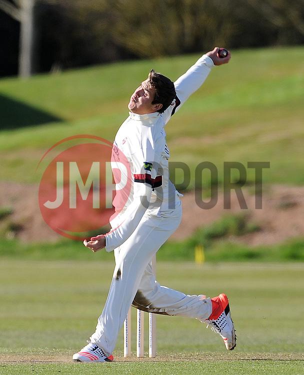 Somerset's Jamie Overton - Photo mandatory by-line: Harry Trump/JMP - Mobile: 07966 386802 - 24/03/15 - SPORT - CRICKET - Pre Season Fixture - Day 2 - Somerset v Glamorgan - Taunton Vale Cricket Club, Somerset, England.