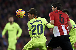 February 10, 2019 - Bilbao, Vizcaya, Spain - Sergi Roberto of Barcelona and Mikel San Jose of Athletic battle for the ball during the week 23 of La Liga between Athletic Club and FC Barcelona at San Mames stadium on February 10 2019 in Bilbao, Spain. (Credit Image: © Jose Breton/NurPhoto via ZUMA Press)