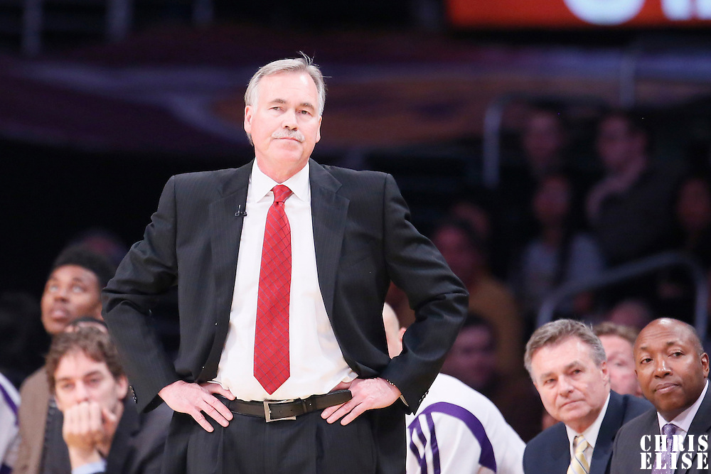 09 February 2014: Los Angeles Lakers head coach Mike D'Antoni is seen during the Chicago Bulls 92-86 victory over the Los Angeles Lakers at the Staples Center, Los Angeles, California, USA.
