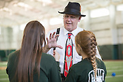 Steve Dixon, a magician from Marietta, Ohio, entertains sisters Jordan Price, left, a freshman at Ohio University, and Sam Price, 11, of Columbus Ohio, at the Sibs Bash in Walter Fieldhouse during Siblings Weekend on February 6, 2016. Photo by Emily Matthews