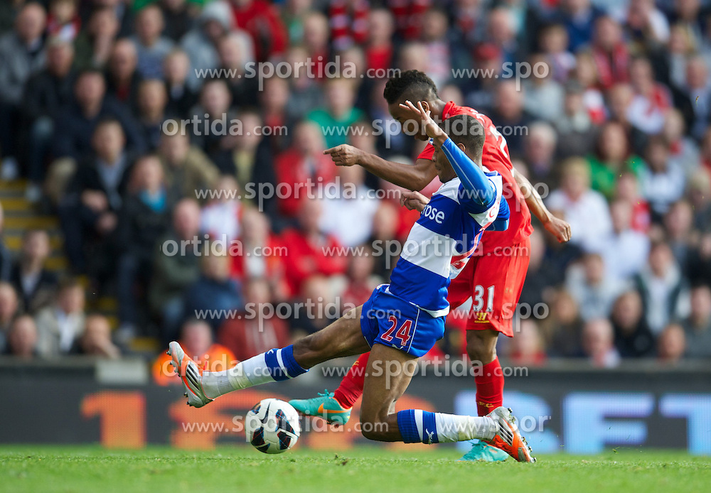 20.10.2012, Anfield, Liverpool, ENG, Premier League, FC Liverpool vs FC Reading | Reading FC, 8. Runde, im Bild Liverpool's Raheem Sterling scores the first goal against Reading during the English Premier League 8th round match between Liverpool FC and FC Reading | Reading FC at Anfield, Liverpool, Great Britain on 2012/10/20. EXPA Pictures © 2012, PhotoCredit: EXPA/ Propagandaphoto/ David Rawcliffe..***** ATTENTION - OUT OF ENG, GBR, UK *****