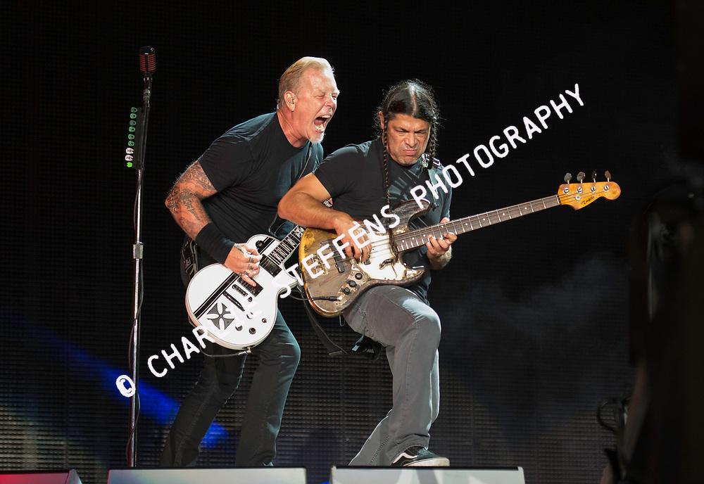 James Hefield and Robert Trujillo<br /> Metallica<br /> July 29, 2017<br /> Rose Bowl<br /> Pasadena, CA