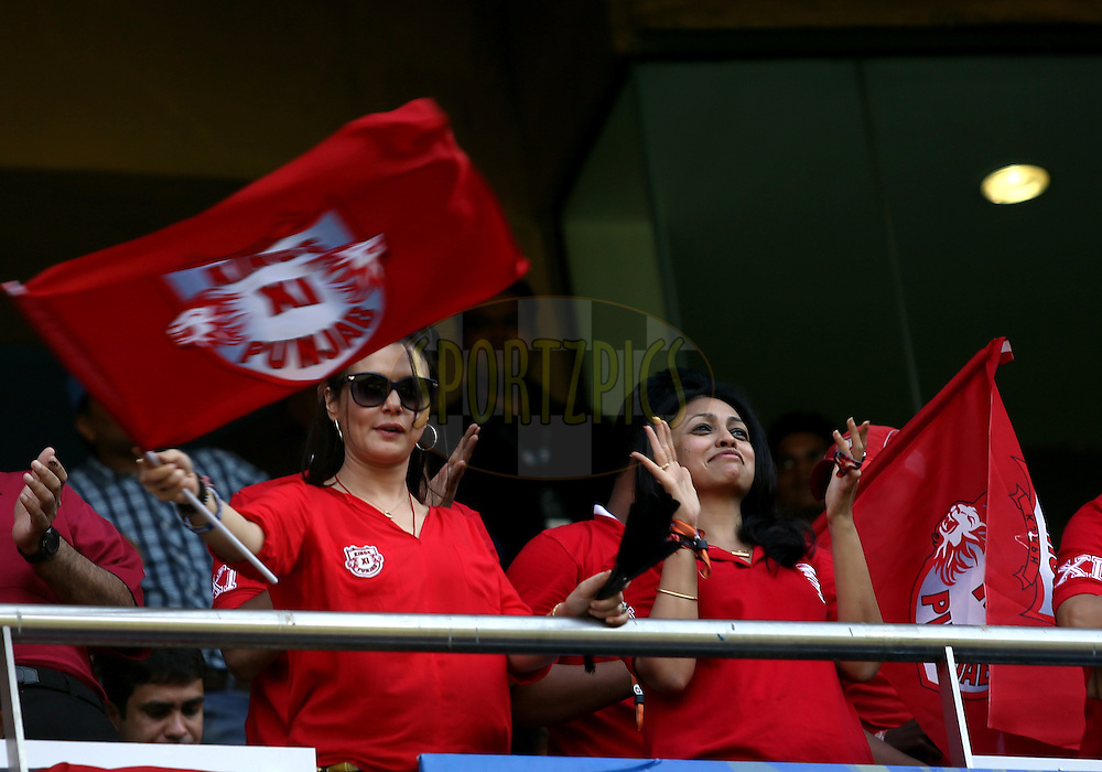 Preity Zinta Owner of Kings XI Punjab during match 22 of the Pepsi Indian Premier League Season 2014 between the Mumbai Indians and the Kings XI Punjab held at the Wankhede Cricket Stadium, Mumbai, India on the 3rd May  2014<br /> <br /> Photo by Sandeep Shetty / IPL / SPORTZPICS<br /> <br /> <br /> <br /> Image use subject to terms and conditions which can be found here:  http://sportzpics.photoshelter.com/gallery/Pepsi-IPL-Image-terms-and-conditions/G00004VW1IVJ.gB0/C0000TScjhBM6ikg