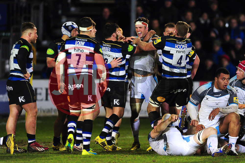 Tempers flare between the forwards - Mandatory byline: Patrick Khachfe/JMP - 07966 386802 - 18/03/2016 - RUGBY UNION - The Recreation Ground - Bath, England - Bath Rugby v Newcastle Falcons - Aviva Premiership.
