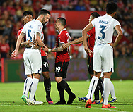 NONTHABURI, THAILAND - JULY 09: Tunez of Buriram United and Tristan of SCG Muangthong United having a verbal altercation during the second half of the Thai League: SCG Muangthong United vs Buriram United at SCG Stadium, Nonthaburi, Thailand on July 09, 2017.<br /> .<br /> .<br /> .<br /> (Photo by: Naratip Golf Srisupab/SEALs Sports Images)<br /> .<br /> Any image use must include a mandatory credit line adjacent to the content which should read: Naratip Golf Srisupab/SEALs Sports Images
